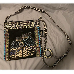 Laurel Burch Polka Dot Gatos Cats Crossbody Bag